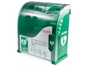 Nástěnný polykarbonátový box AIVIA 100 s alarmem pro AED defibrilátor