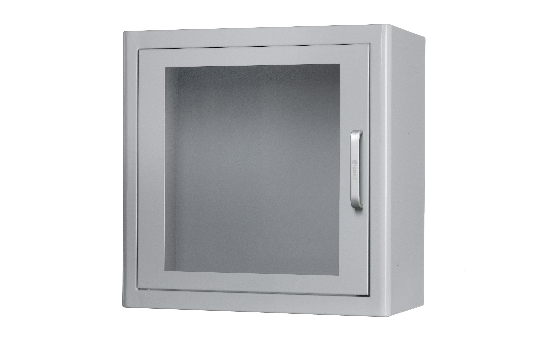 Nástěnná kovová skříňka na AED s alarmem + označení zdarma Barva: Bílá