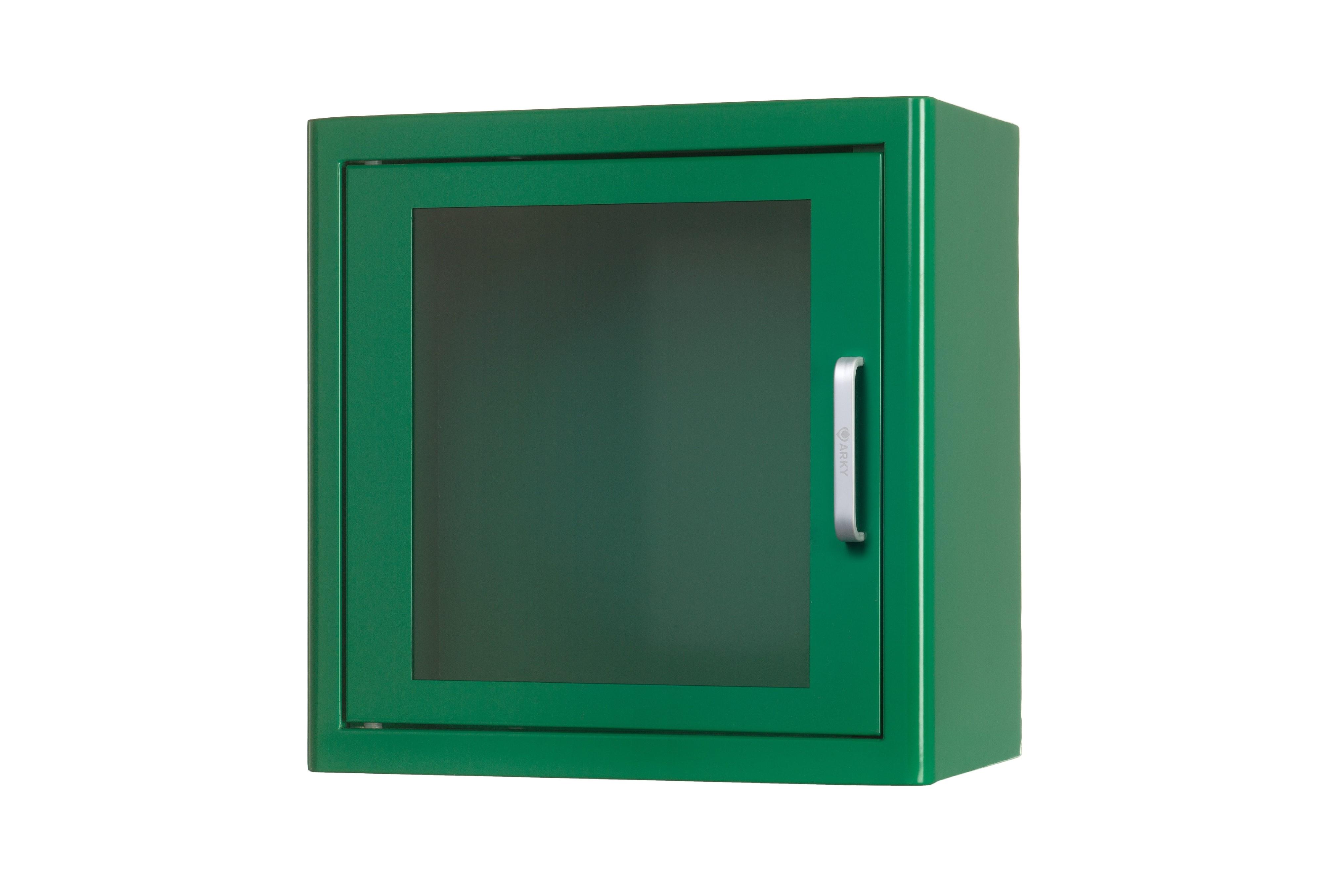Nástěnná kovová skříňka na AED s alarmem + označení zdarma Barva: Zelená