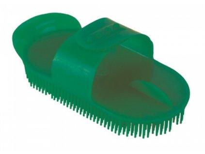 Kartáč Curry comb na čištění koní, velký, oválný, zelený