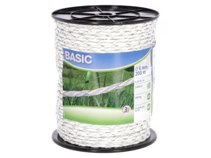 Lano BASIC pro el. ohradník, 2x0,50 mm FeSn, 200 m, bílá