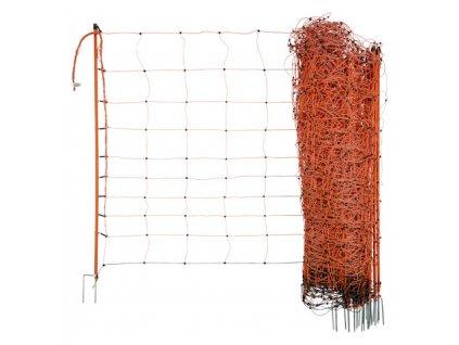 Síť pro elektrické ohradníky na ovce Ovinet 108 cm, 50 m, 2 hroty, oranžová