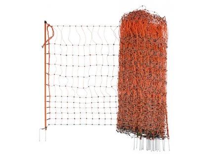 Síť vodivá pro drůbež, 112 cm, 50 m, 2 hroty, oranžová