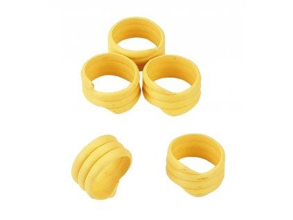 Kroužky na slepice, spirálové, žluté, 16 mm, 20 ks