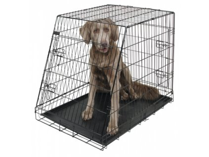 Přepravní box, klec do auta pro psy, 92 x 63 x 74 cm, 2 dveře, zkosená