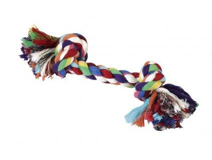 Hračka pro psy bavlněná - 2x uzel barevný, 20 cm