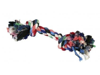 Hračka pro psy bavlněná - 2x uzel barevný, 26 cm