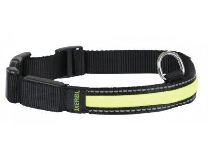 Obojek KERBL pro psy reflexní blikací, černý, 34 - 41 cm
