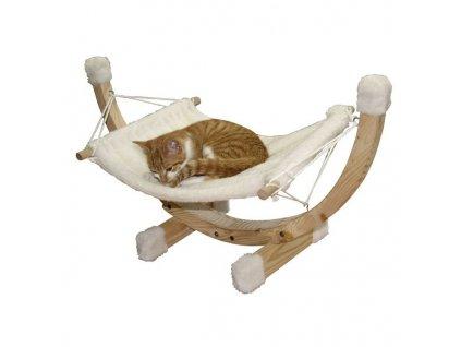 Houpací lehátko SIESTA, bílá houpačka pro kočky 73x36x34cm