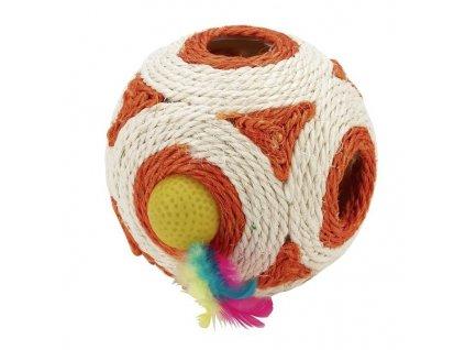 Hračka pro kočky - sisalová koule s chrastítkem 12 cm
