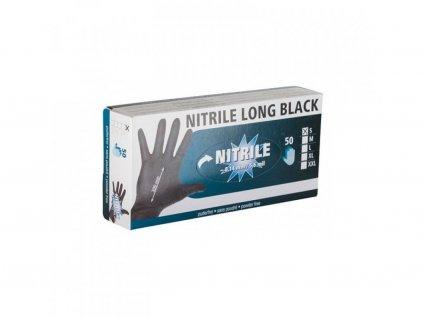 Rukavice nitrilové černé M, dlouhé 30 cm