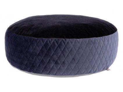 Pelíšek Pouf pro psy a kočky, kulatý, modrá/černá, 60 x 19 cm