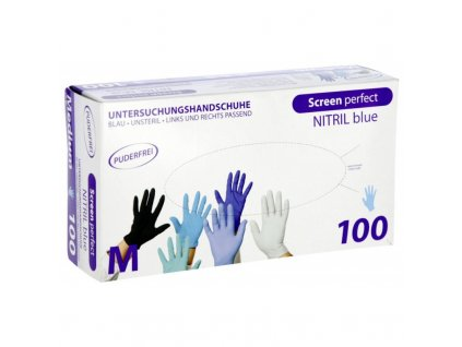 rukavice nitrilove screen perfect modre delka 24 cm