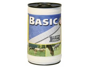 Páska BASIC pro el. Ohradník, 4x Ni 0,16 mm, 10 mm x 200 m, 4 x 0,16 mm / bílá
