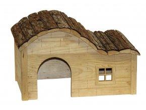 Domek pro králíky a jiné hlodavce, s kulatou střechou, 40 x 25 x 25 cm