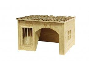 Domek pro králíky, s jeslemi na seno, 54 x 41 x 30 cm