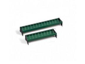 Krmítko pro slepice žlabové, plastové s kovovou mřížkou, 13 x 50 cm