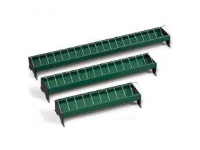 Krmítko pro slepice žlabové, plastové s kovovou mřížkou, 13 x 100 cm