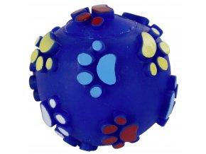Hračka pro psy vinylová - míček s packami 7 cm