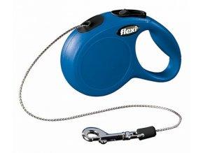 Vodítko samonavíjecí Flexi Classic M 8 m/20 kg, lanko, modré