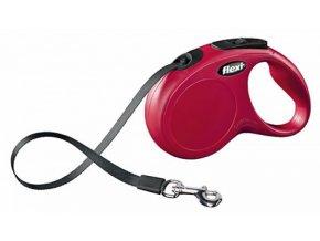 Vodítko samonavíjecí Flexi Classic S 5 m/15 kg, páska, červené