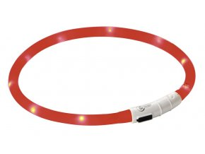 Obojek pro psy silikonový svítící, LED, nabíjecí, červený, 55 cm