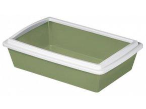 Toaleta pro kočky TRAY 2 - kočičí WC s okrajem, 50x35x12cm, pastelově zelená