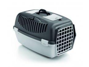 Přepravka pro psy a kočky Gulliver 3, 61x40x38cm, plastová dvířka, tmavě šedá/světle šedá