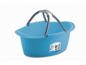 Košík na prádlo, oválný, tyrkysový, 60x40x25 cm