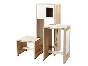 Škrabadlo pro kočky AMBIENTE - dřevěný nábytek - bílé