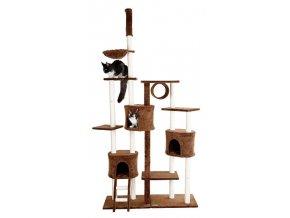 Škrabadlo a odpočívadlo pro kočky URANUS, hnědé, 120x40x250-265cm