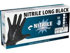 Rukavice nitrilové černé, dlouhé, 30 cm, XXL