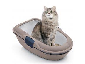 Toaleta pro kočky - kočičí WC Furba chic maxi, popelavě hnědá