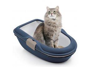 Toaleta pro kočky - kočičí WC Furba chic maxi, tmavě modrá
