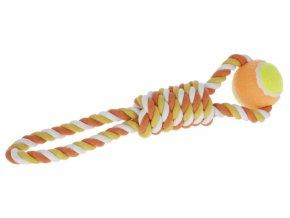 Hračka pro psy - bavlněné přetahovadlo, míček na laně, 37 cm