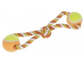 Hračka pro psy - bavlněné přetahovadlo, míčky na laně, 34 cm