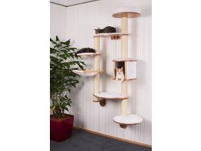 Kočičí strom na zeď DOLOMIT XL - bílé škrabadlo pro kočky, 185 cm