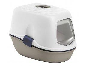Toaleta pro kočky - kočičí WC Furba Top Chic - popelavě hnědá/tmavě modrá/bílá