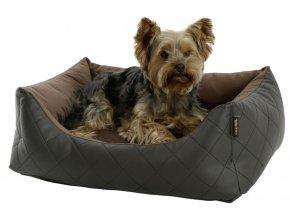 Kerbl pelíšek pro psy Giulia, hnědý, imitace kůže, 60 x 45 x 20 cm