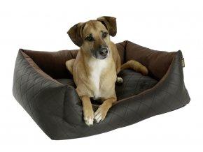 Kerbl pelíšek pro psy Giulia, hnědý, imitace kůže, 70 x 60 x 23 cm