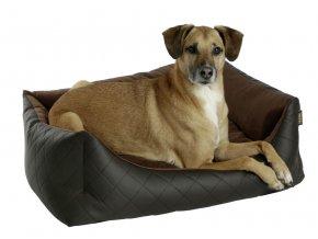 Kerbl pelíšek pro psy Giulia, hnědý, imitace kůže, 85 x 70 x 15 cm
