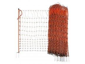 Síť vodivá pro drůbež 106 cm, 50 m, 2 hroty, oranžová