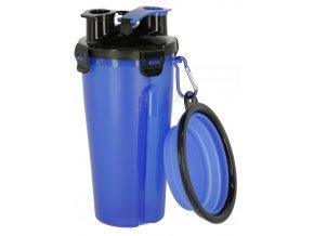 Cestovní láhev na vodu a krmivo se skládací miskou, 3v1, modrá
