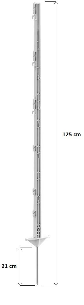 Tyčka - sloupek pro elektrický ohradník, plastová bílá, 125 cm