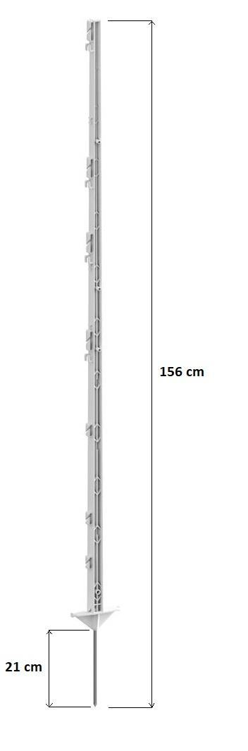 Tyčka - sloupek pro elektrický ohradník, plastová bílá, 156 cm
