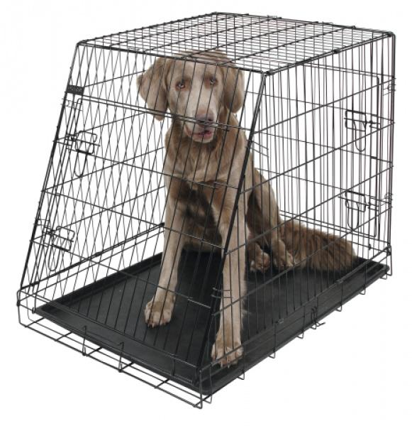 Přepravní box, klec do auta pro psy, 107 x 74 x 85 cm, 2 dveře, zkosená