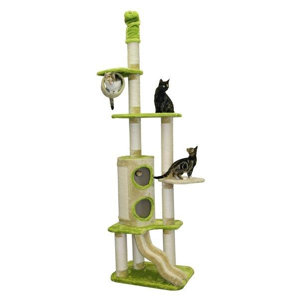 Škrabadlo pro kočky ELLIOT - kočičí domek, béžová/zelená