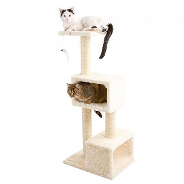 Velké odpočívadlo a škrabadlo pro kočky DOLOMIT XL, barva bílá