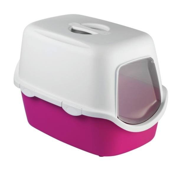 Toaleta pro kočky Cathy, růžová - kočičí WC s klapkou