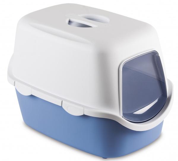 Toaleta pro kočky Cathy, pastelově modrá - kočičí WC s klapkou